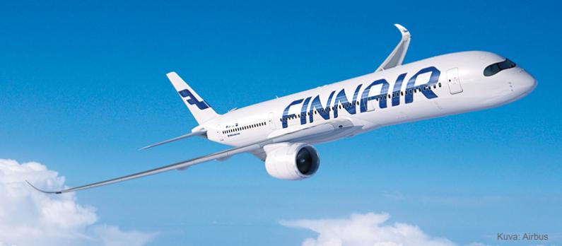 Finnair's aircraft flies in the air.